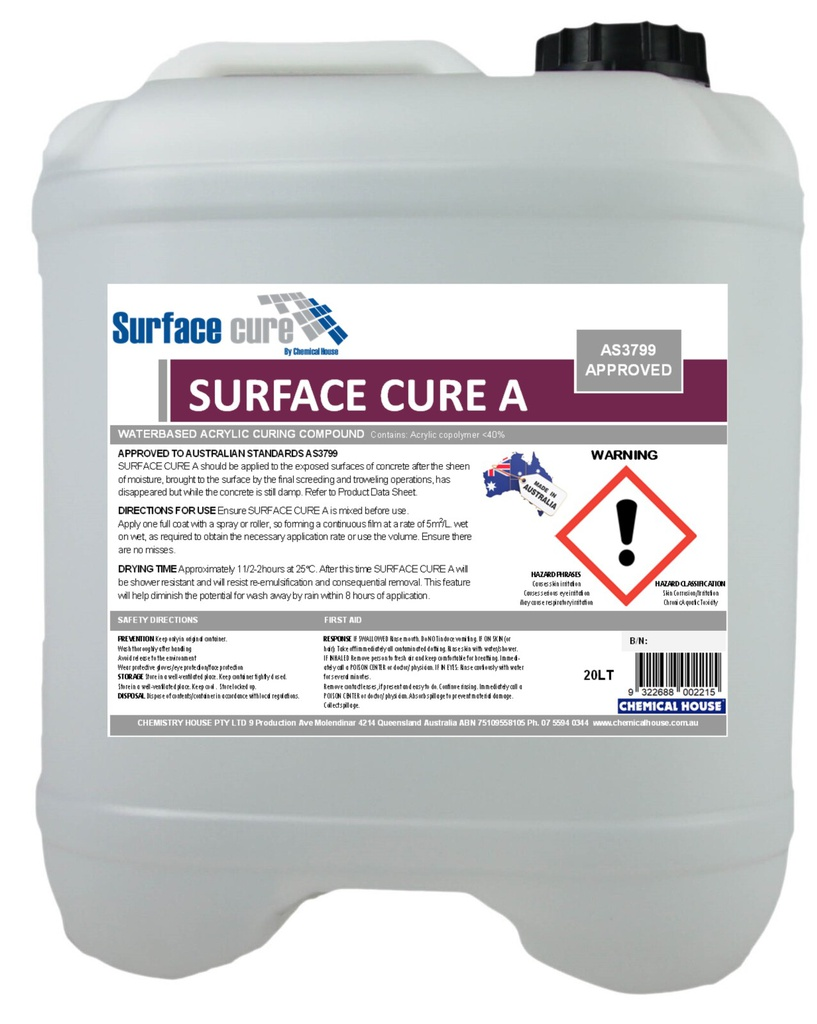 SURFACE CURE A CLASS D TYPE 1  CURING COMPOUND